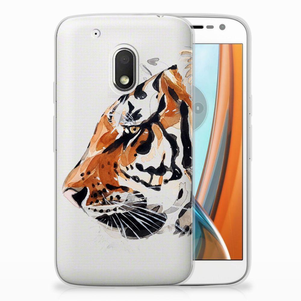 Motorola Moto G4 Play Uniek TPU Hoesje Watercolor Tiger