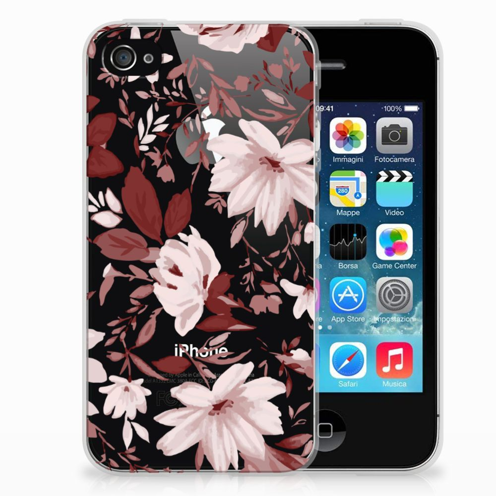Apple iPhone 4 | 4s Uniek TPU Hoesje Watercolor Flowers