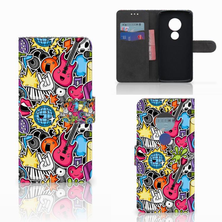 Motorola Moto E5 Wallet Case met Pasjes Punk Rock
