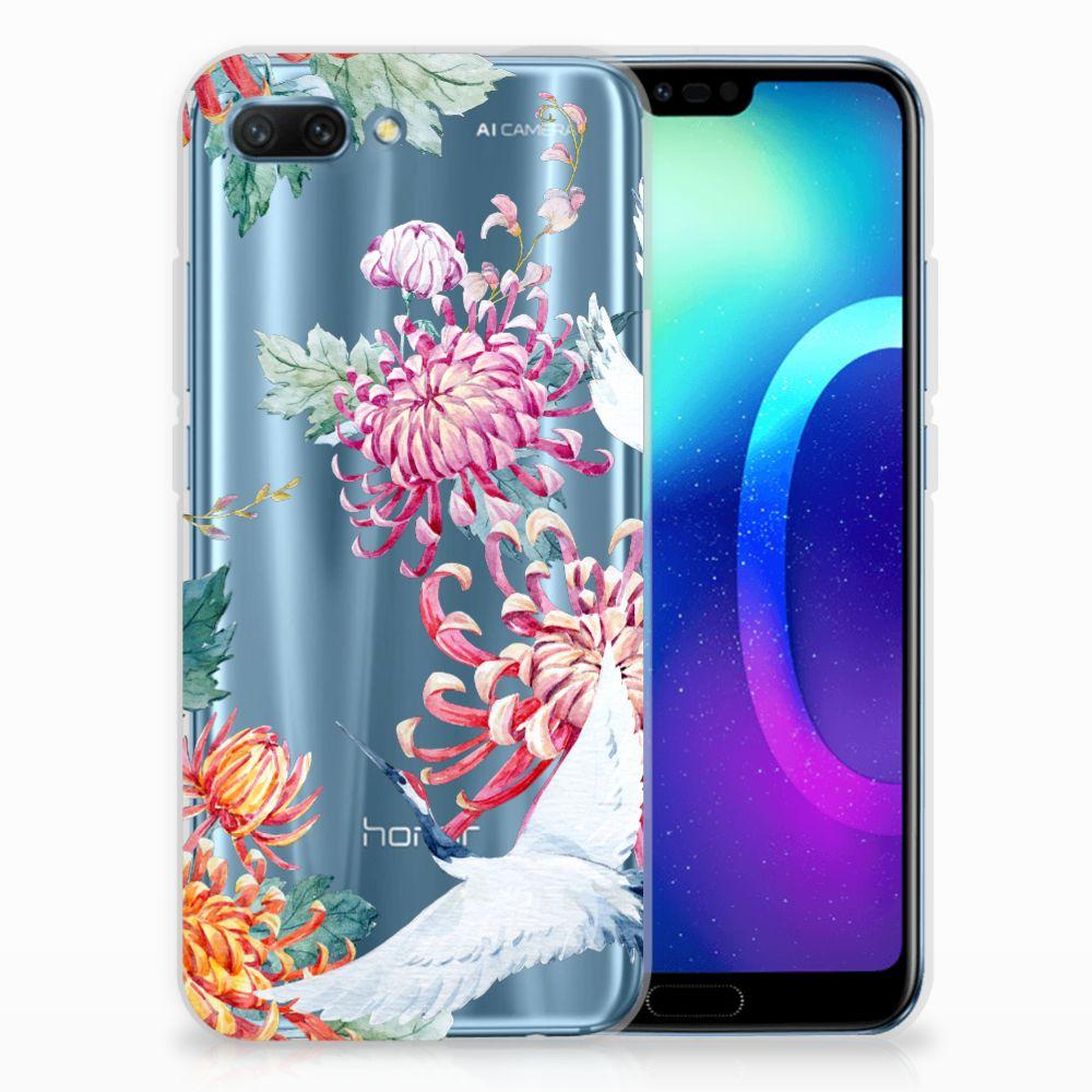 Huawei Honor 10 TPU Hoesje Bird Flowers