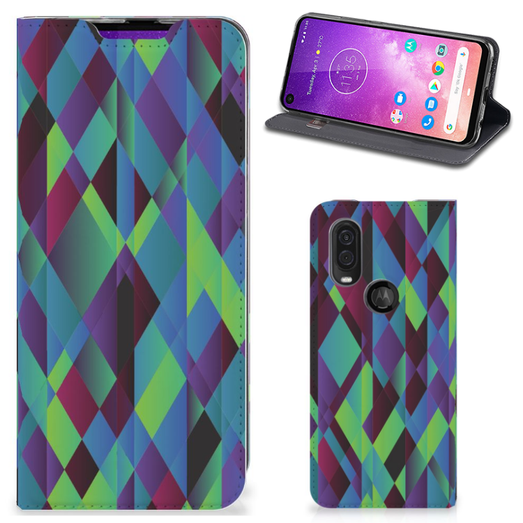 Motorola One Vision Stand Case Abstract Green Blue