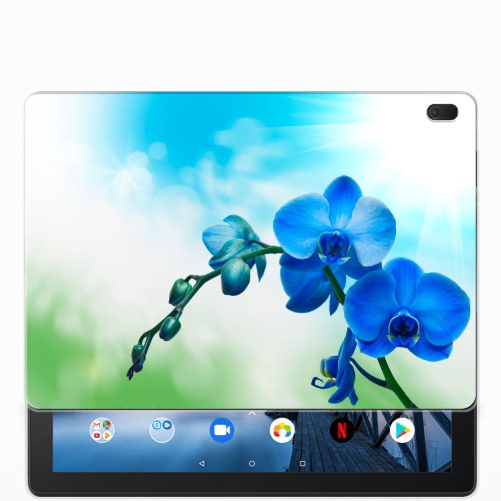Lenovo Tab E10 Siliconen Hoesje Orchidee Blauw