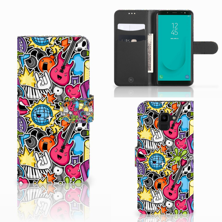 Samsung Galaxy J6 2018 Wallet Case met Pasjes Punk Rock