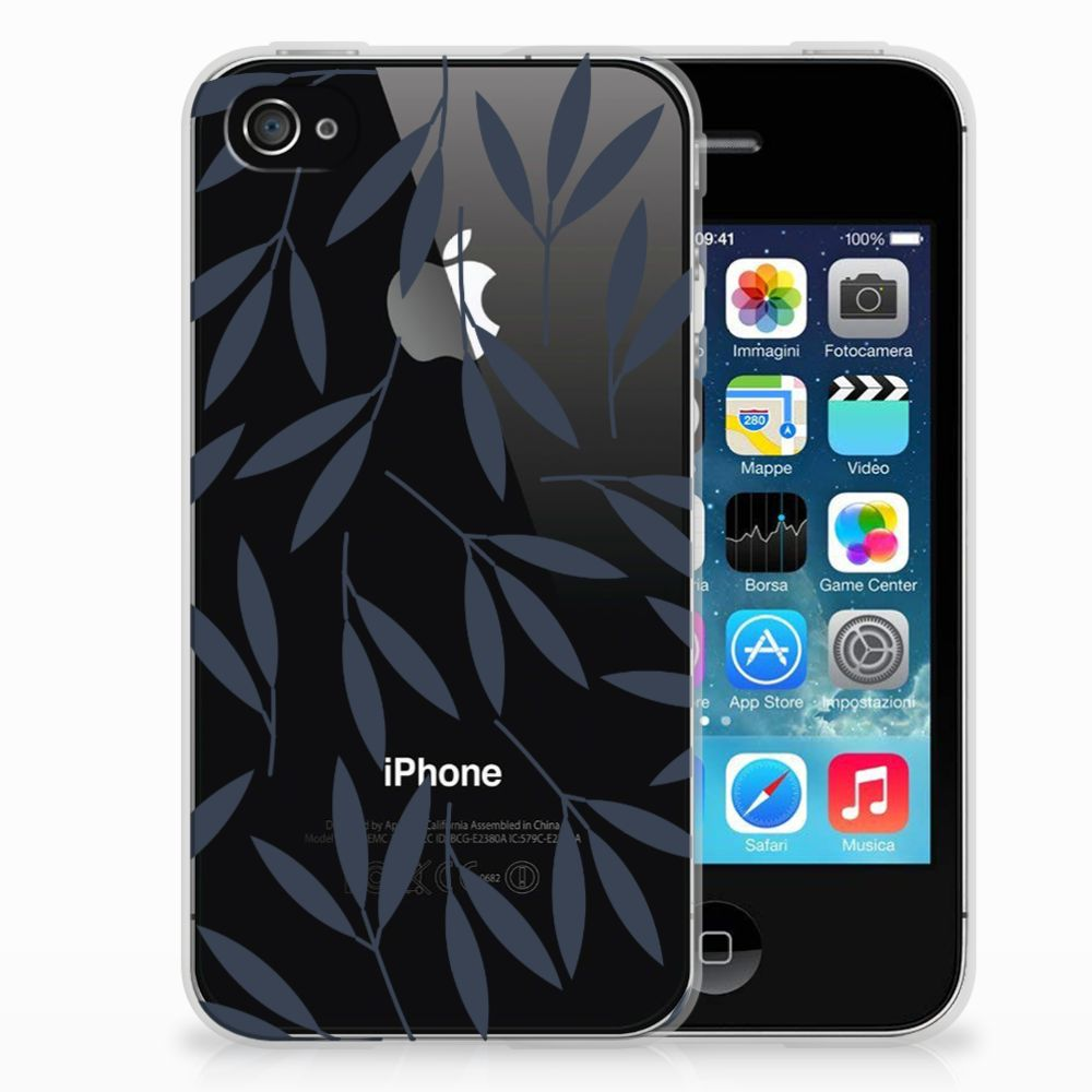 Apple iPhone 4 | 4s TPU Hoesje Design Leaves Blue