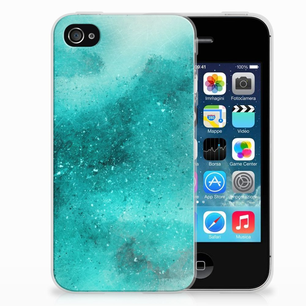 Apple iPhone 4 | 4s Uniek TPU Hoesje Painting Blue