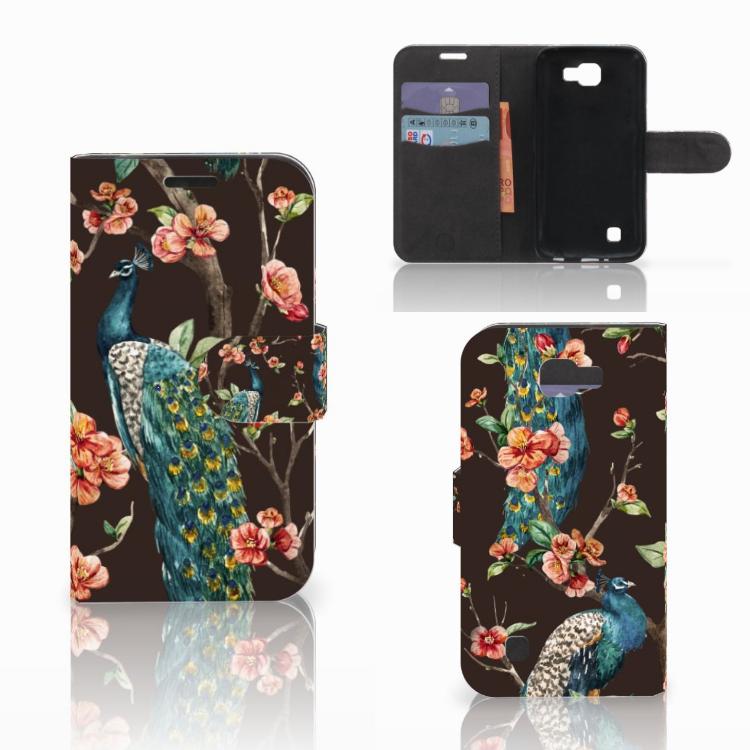 LG K4 Telefoonhoesje met Pasjes Pauw met Bloemen