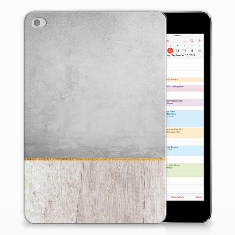 Apple iPad Mini 4 | Mini 5 (2019) Silicone Tablet Hoes Wood Concrete