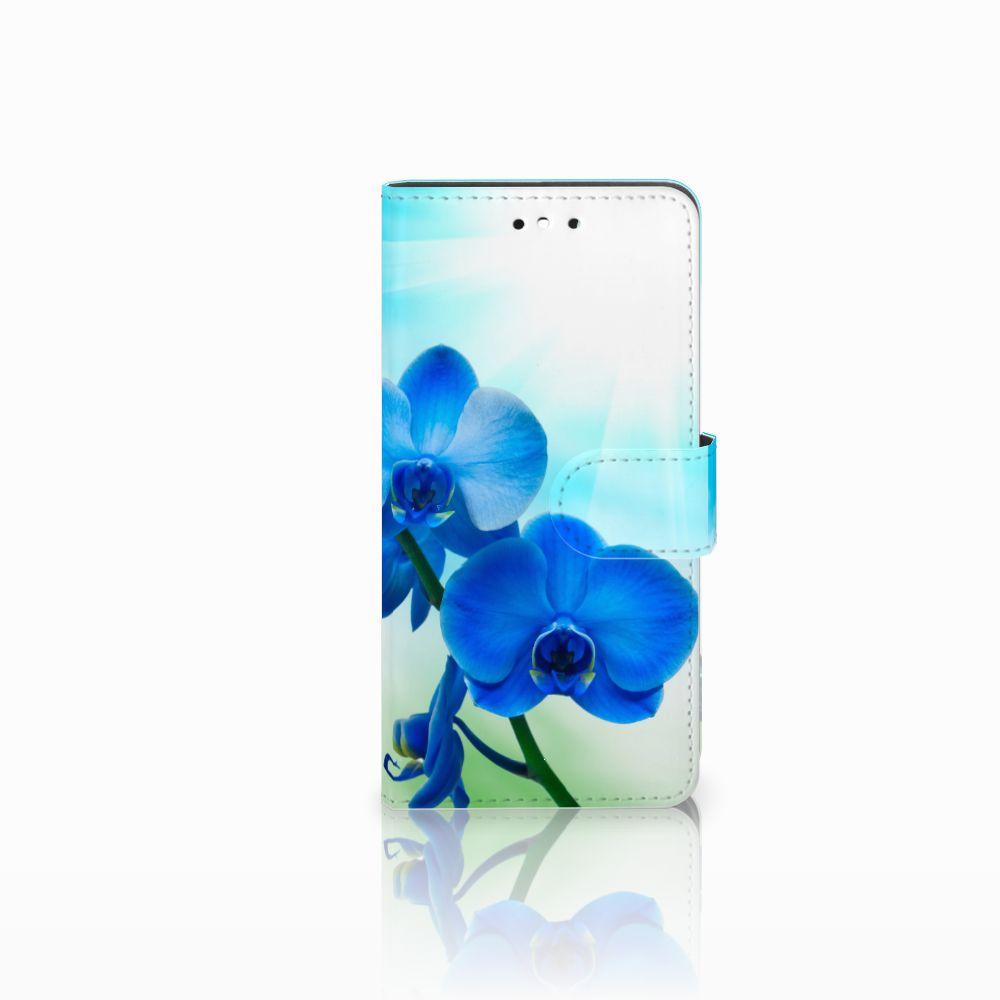 Huawei P8 Lite Smart (GR3) Boekhoesje Design Orchidee Blauw
