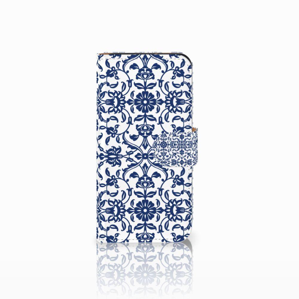 HTC One Mini 2 Uniek Boekhoesje Flower Blue