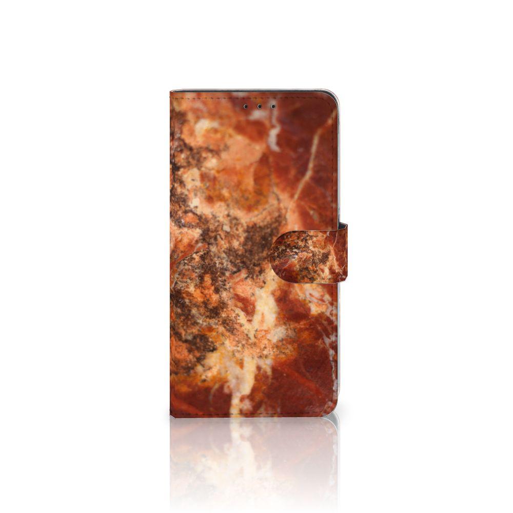 Samsung Galaxy A8 Plus (2018) Boekhoesje Design Marmer Bruin
