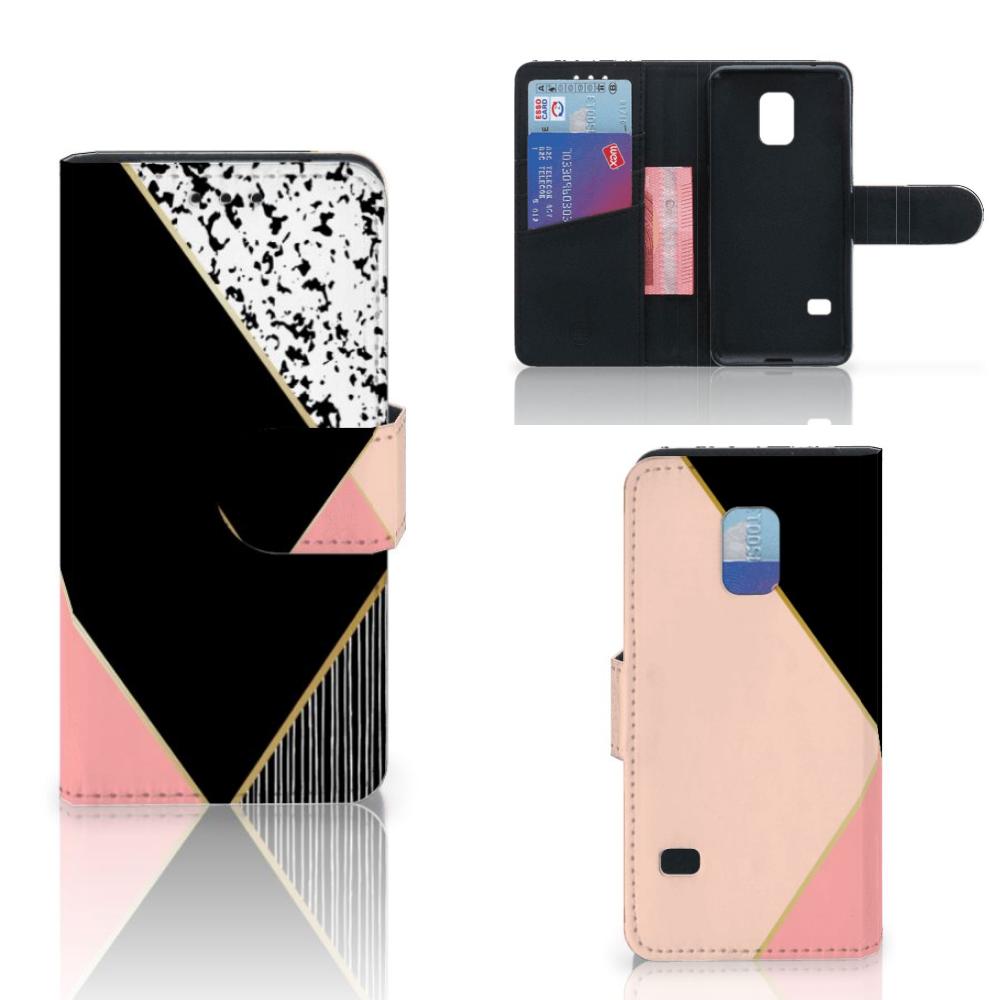 Samsung Galaxy S5 Mini Bookcase Zwart Roze Vormen