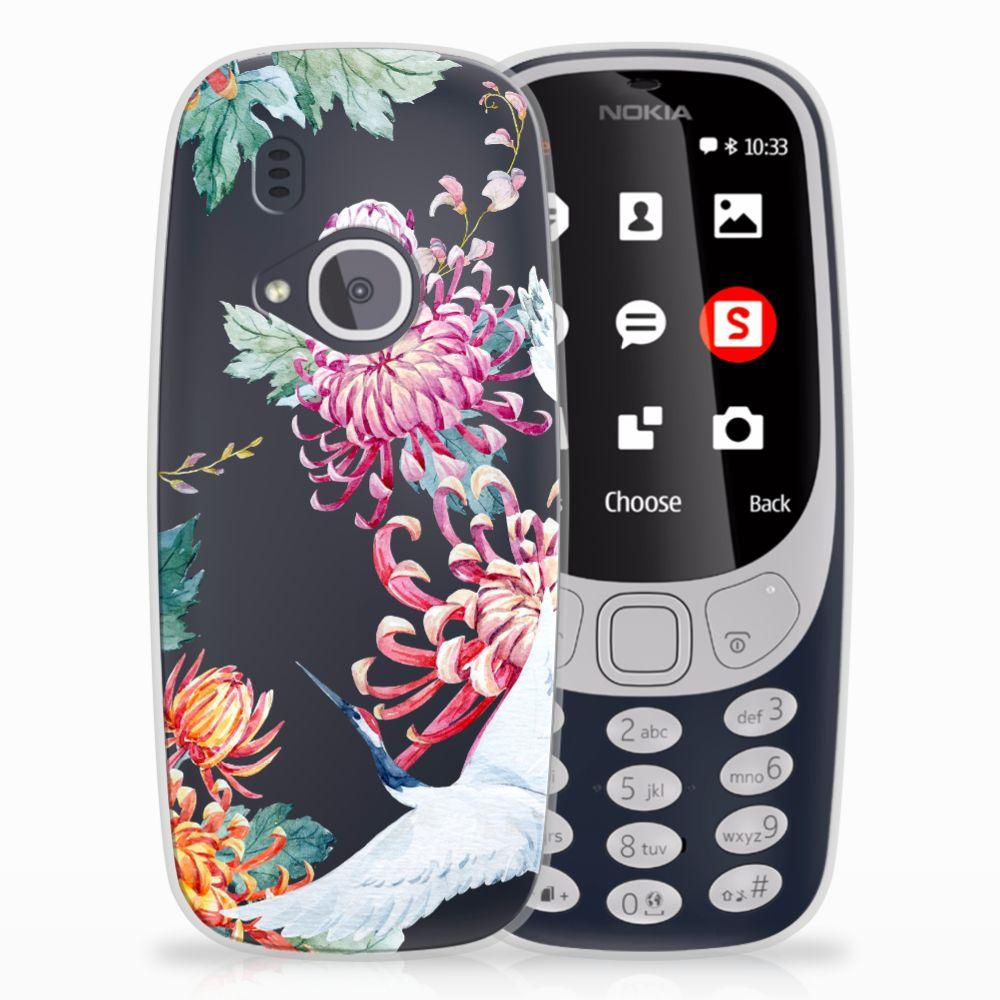 Nokia 3310 (2017) Uniek TPU Hoesje Bird Flowers