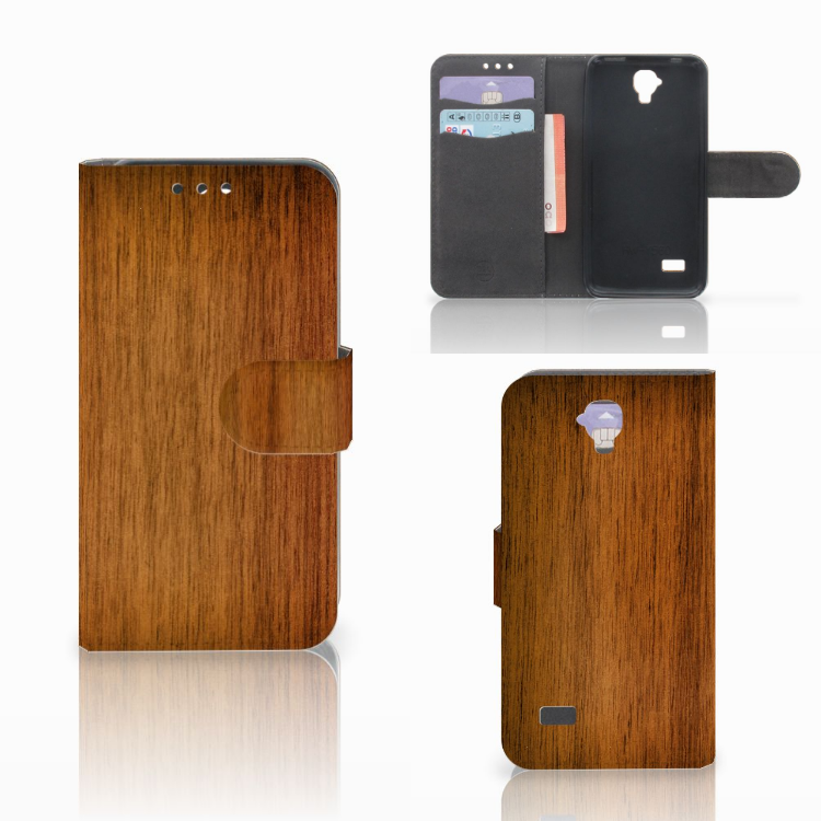 Huawei Y5 Y560 Book Style Case Donker Hout