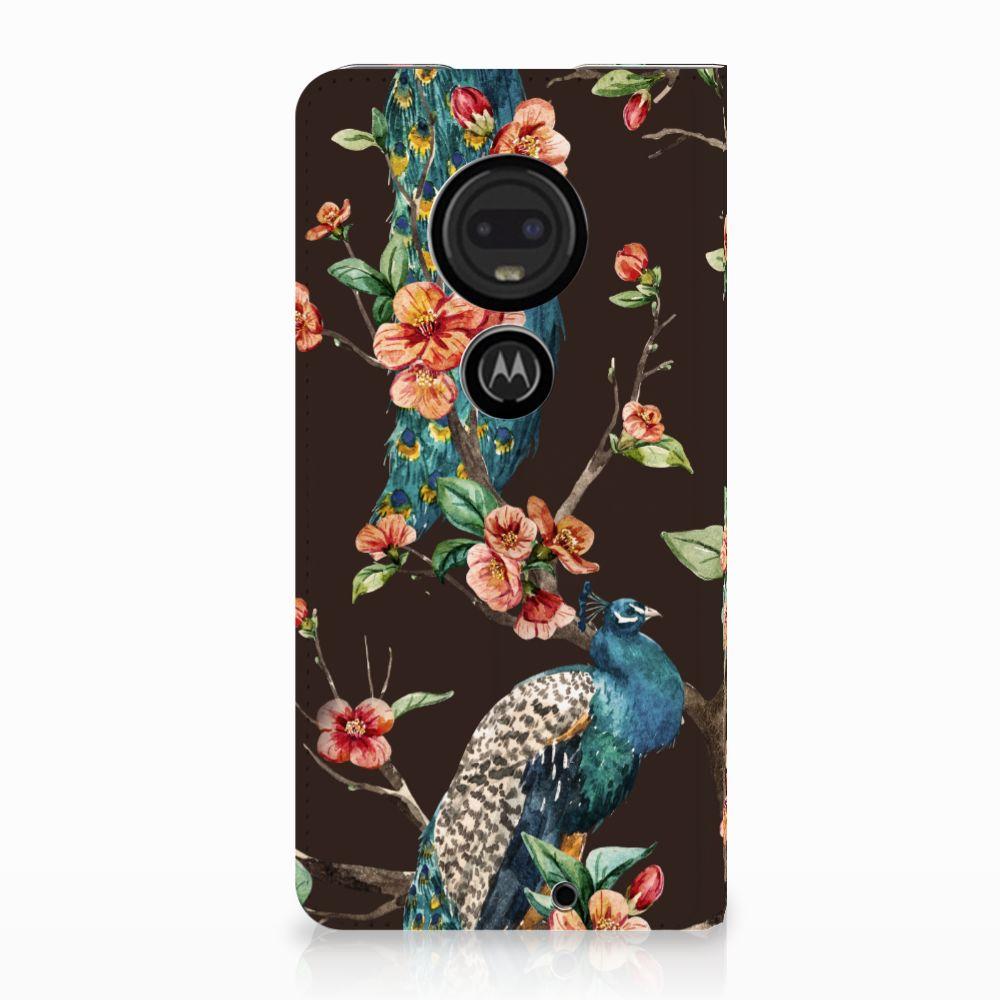 Motorola Moto G7 | G7 Plus Standcase Hoesje Design Pauw met Bloemen