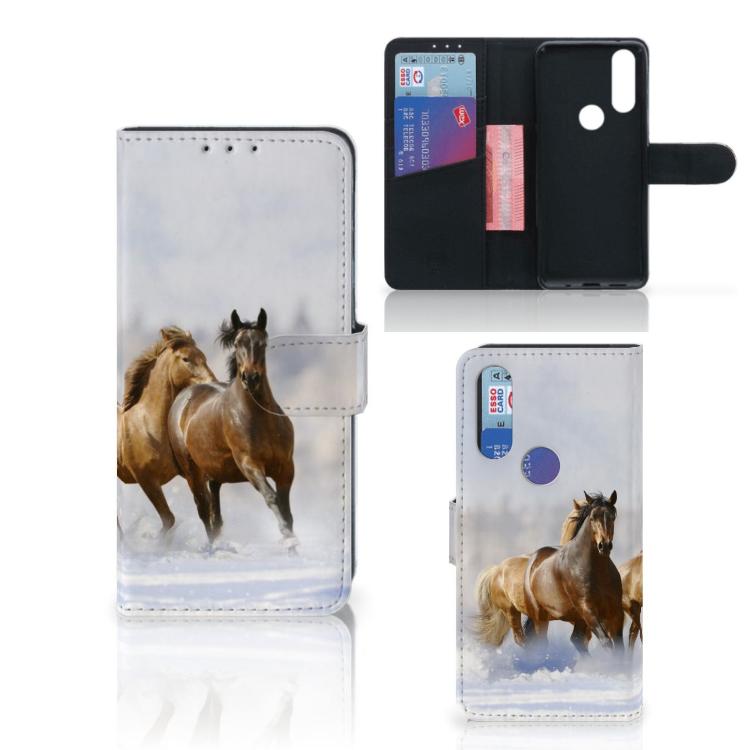 Motorola One Action Telefoonhoesje met Pasjes Paarden