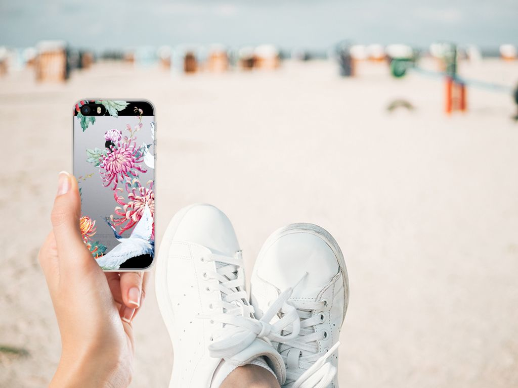 Apple iPhone SE | 5S Uniek TPU Hoesje Bird Flowers