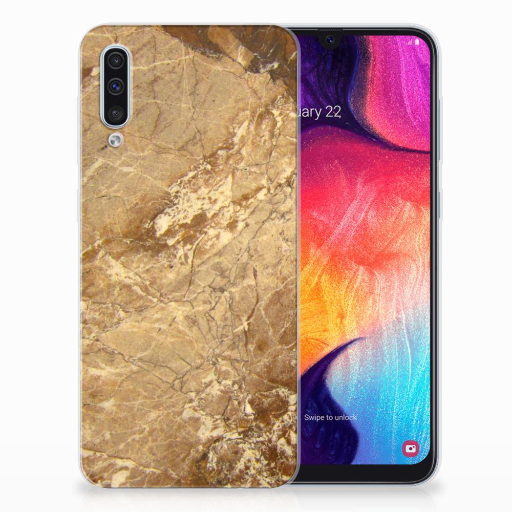 Samsung Galaxy A50 TPU Siliconen Hoesje Marmer Creme