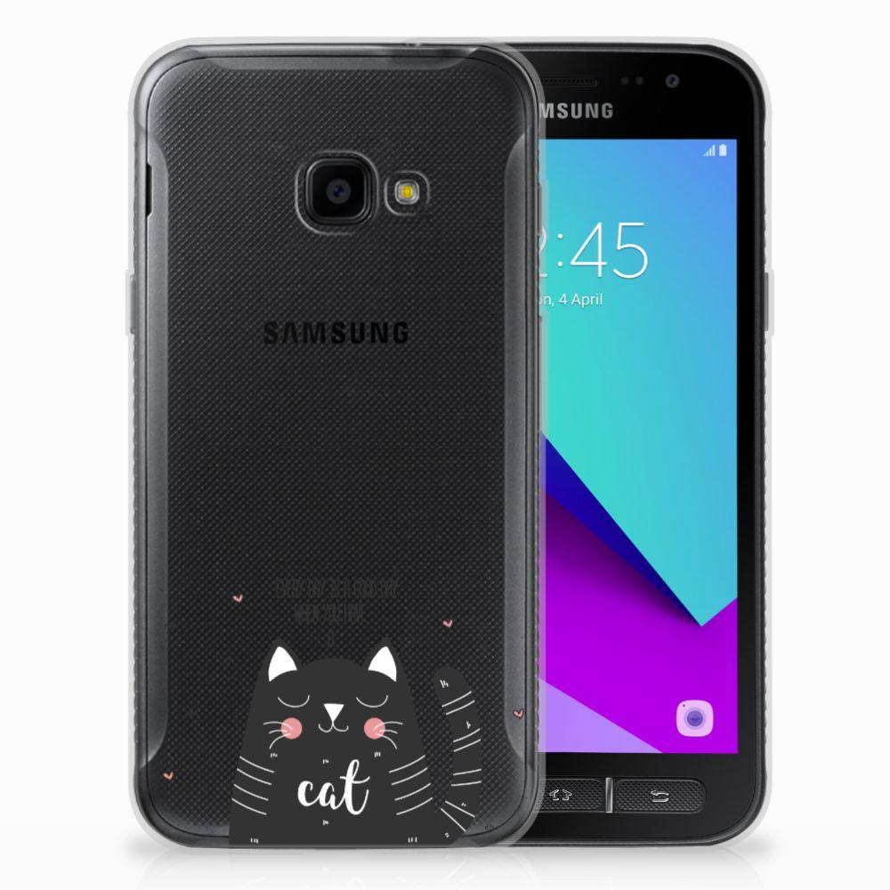 Samsung Galaxy Xcover 4 Telefoonhoesje met Naam Cat Good Day