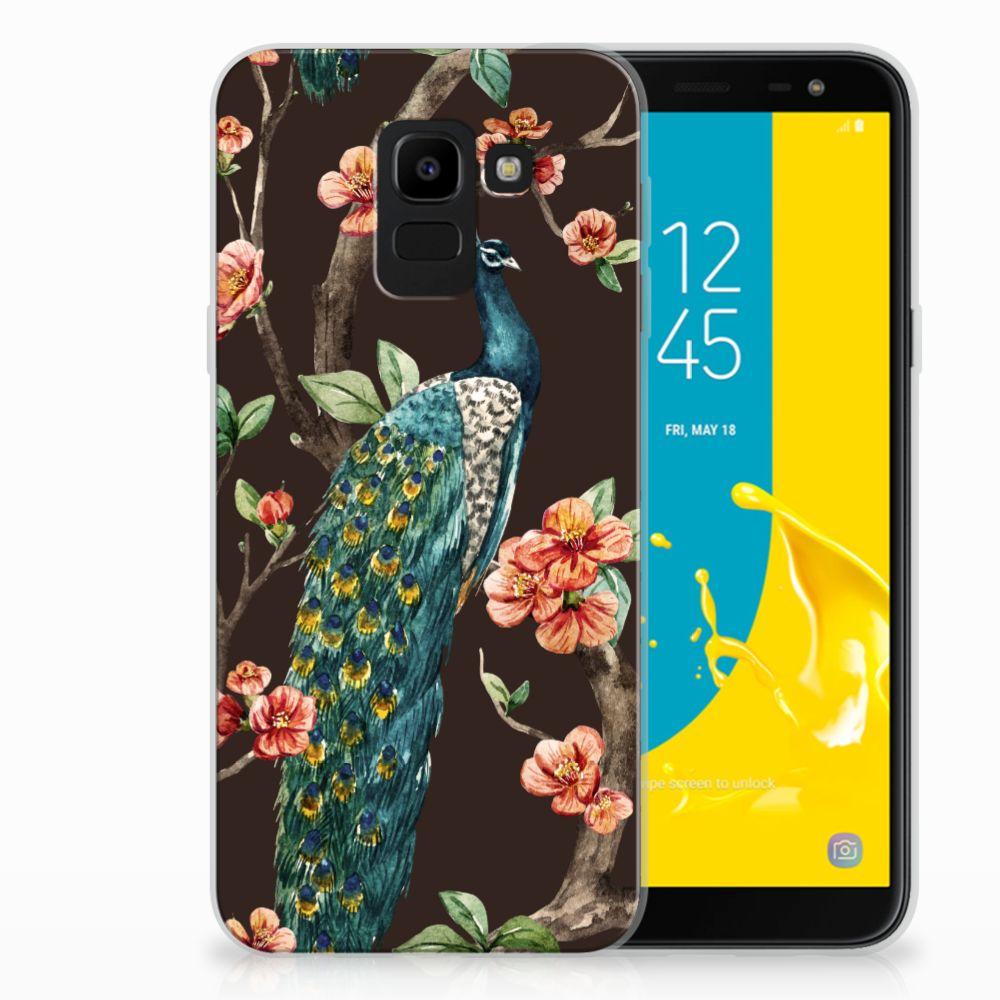 Samsung Galaxy J6 2018 TPU Hoesje Pauw met Bloemen