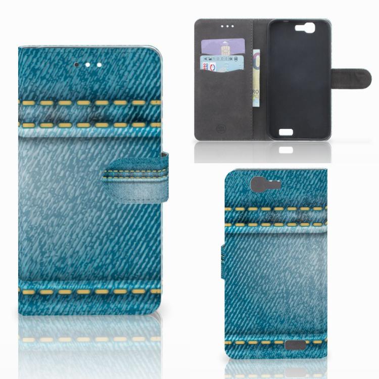 Huawei Ascend G7 Wallet Case met Pasjes Jeans