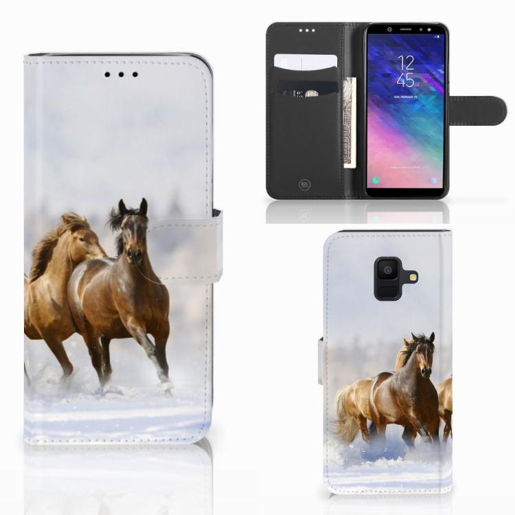 Samsung Galaxy A6 2018 Telefoonhoesje met Pasjes Paarden
