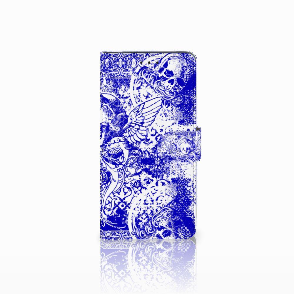 Telefoonhoesje met Naam Samsung Galaxy J6 Plus (2018) Angel Skull Blauw