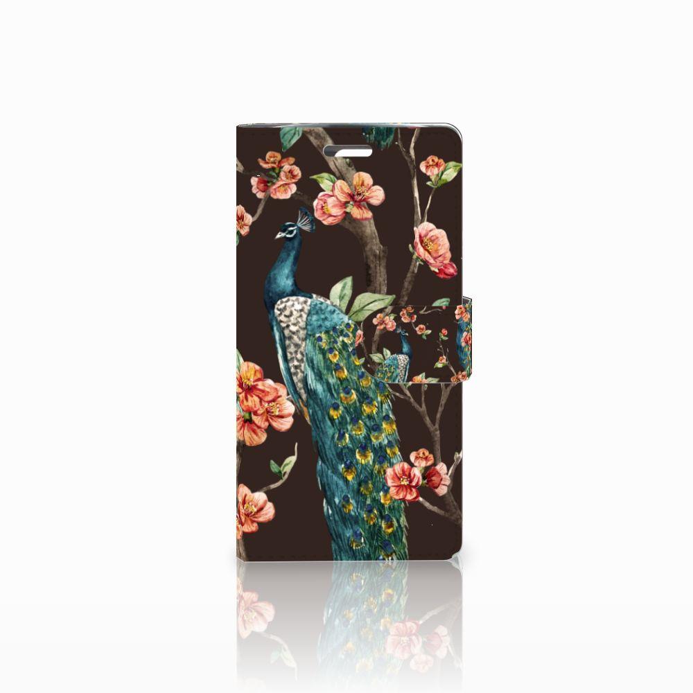 LG K10 2015 Boekhoesje Design Pauw met Bloemen