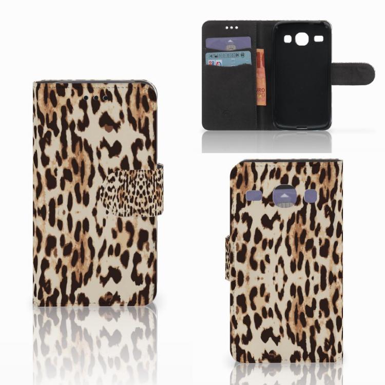 Samsung Galaxy Core i8260 Telefoonhoesje met Pasjes Leopard