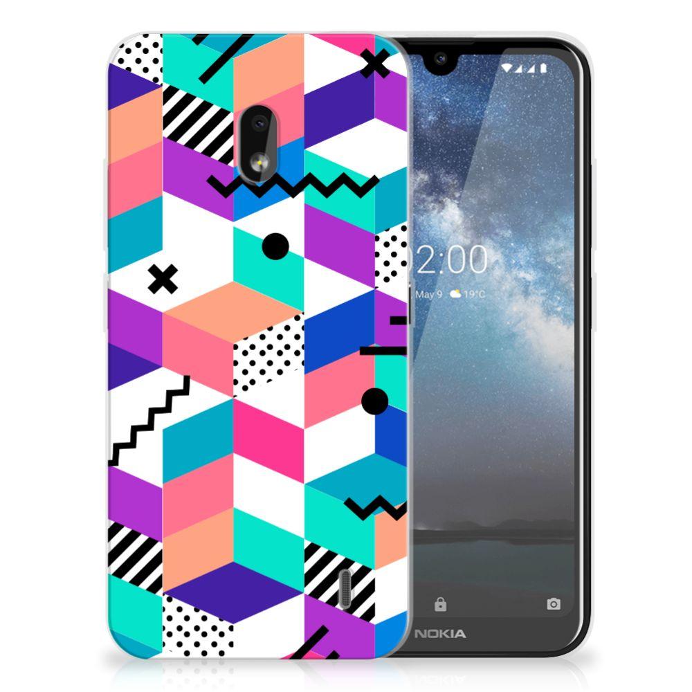 Nokia 2.2 TPU Hoesje Blokken Kleurrijk
