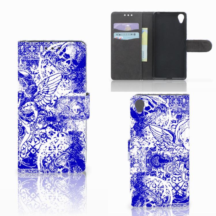 Telefoonhoesje met Naam Sony Xperia X Angel Skull Blauw
