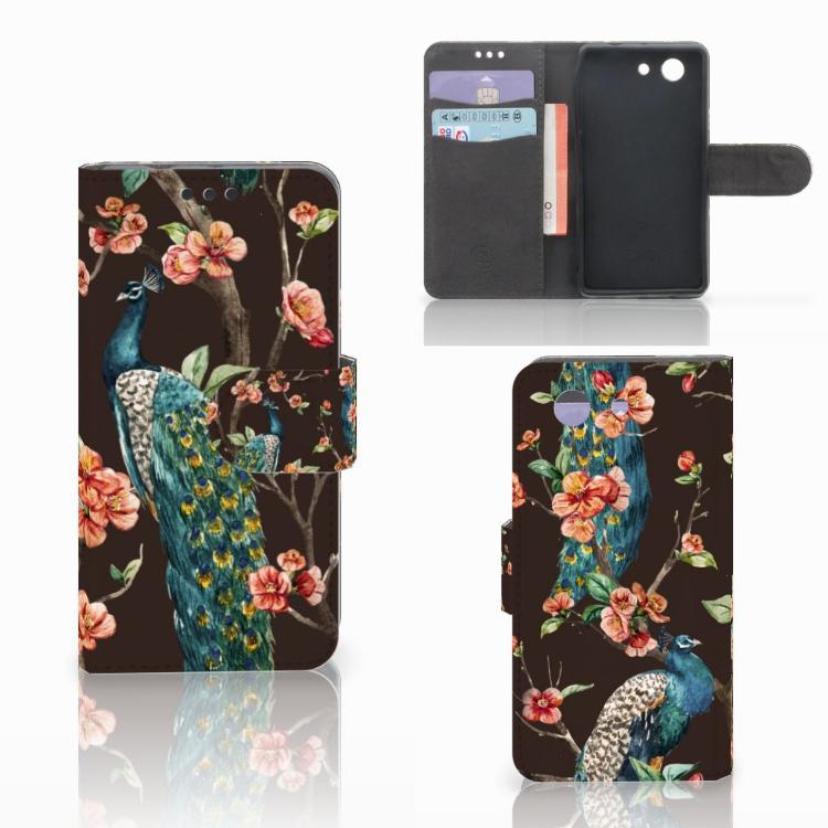 Sony Xperia Z3 Compact Telefoonhoesje met Pasjes Pauw met Bloemen