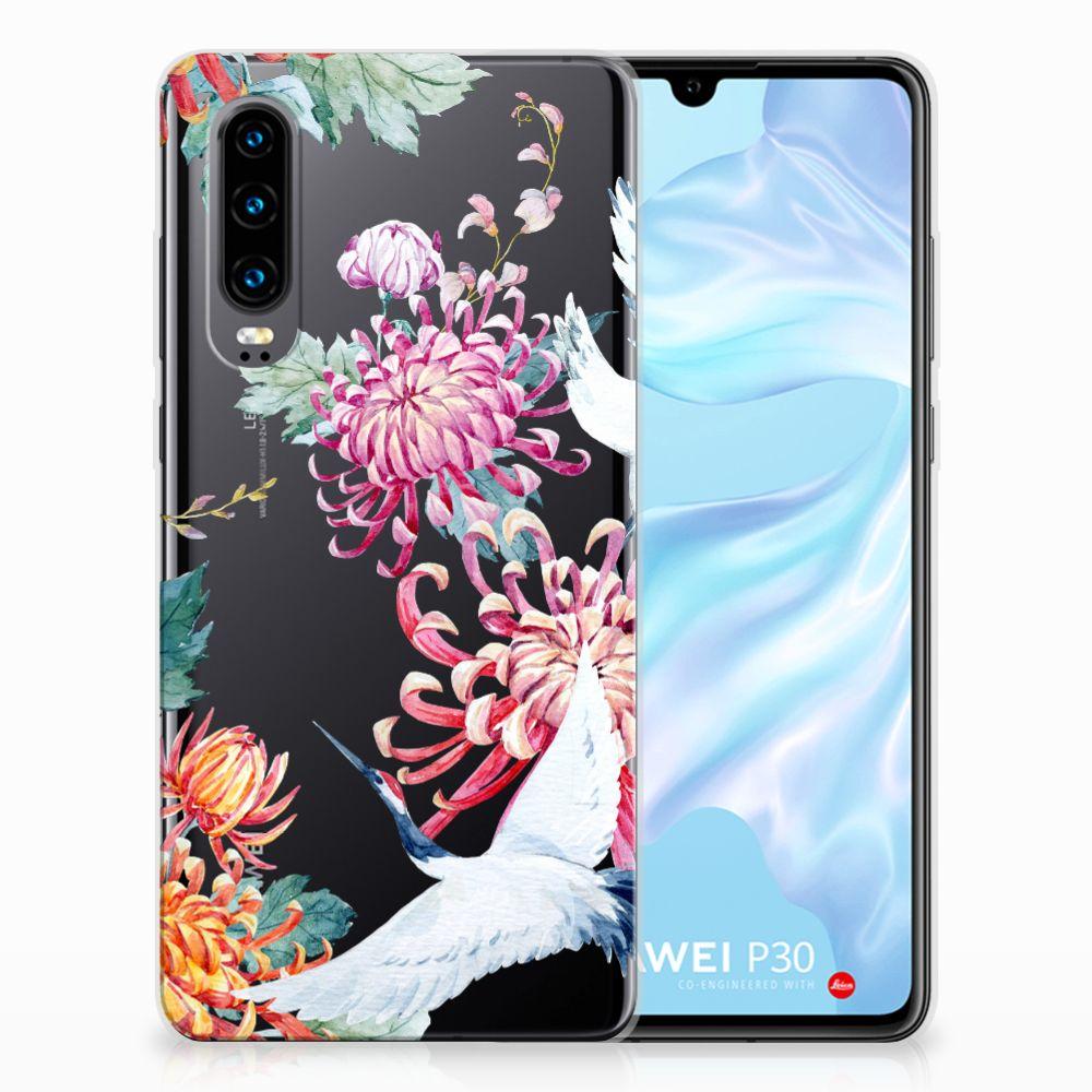 Huawei P30 Uniek TPU Hoesje Bird Flowers