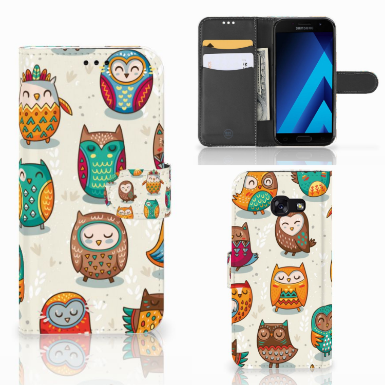 Samsung Galaxy A5 2017 Telefoonhoesje met Pasjes Vrolijke Uilen