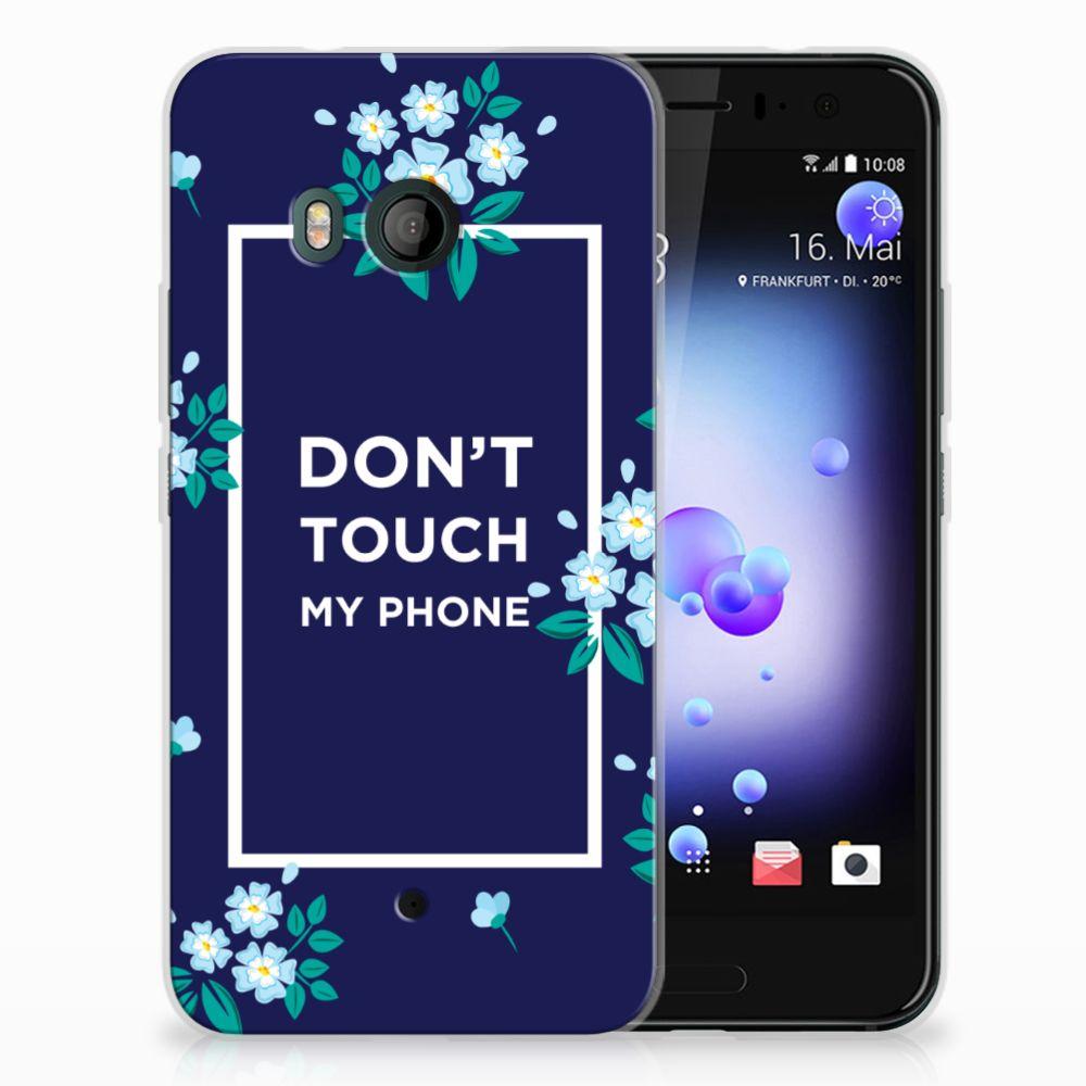 HTC U11 TPU Hoesje Flowers Blue DTMP
