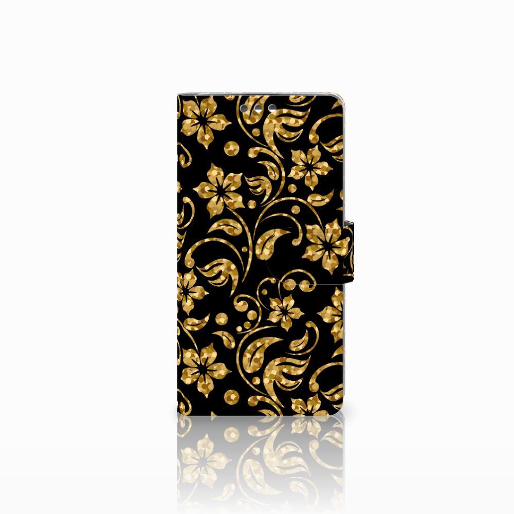 LG K8 Boekhoesje Design Gouden Bloemen