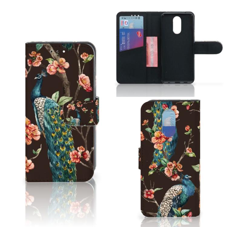 LG Q7 Telefoonhoesje met Pasjes Pauw met Bloemen