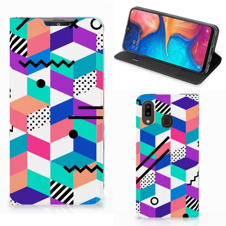 Samsung Galaxy A30 Stand Case Blokken Kleurrijk