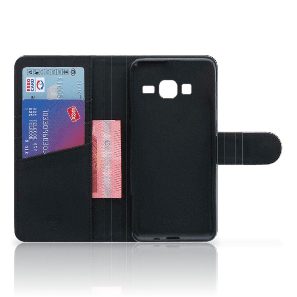 Samsung Galaxy J3 2016 Telefoonhoesje met Pasjes Leeuw