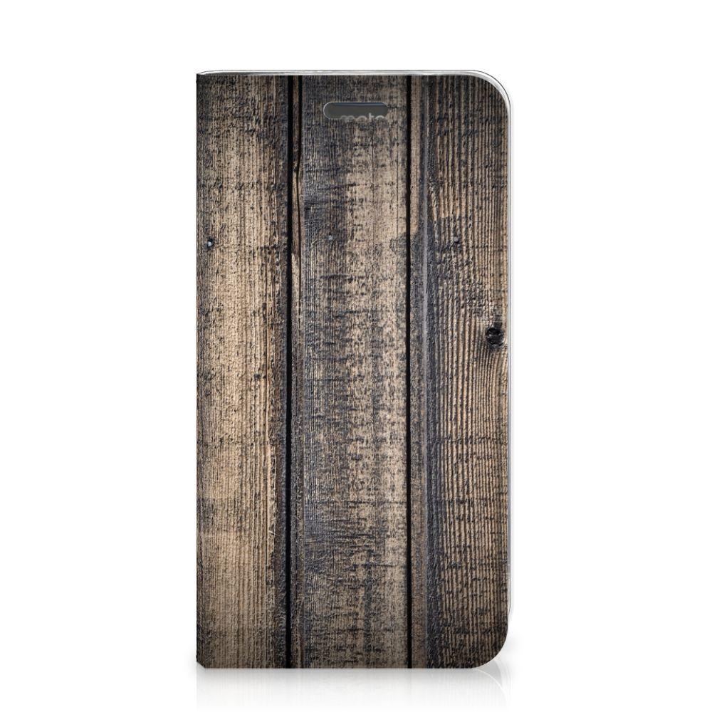Motorola Moto C Plus Book Wallet Case Steigerhout