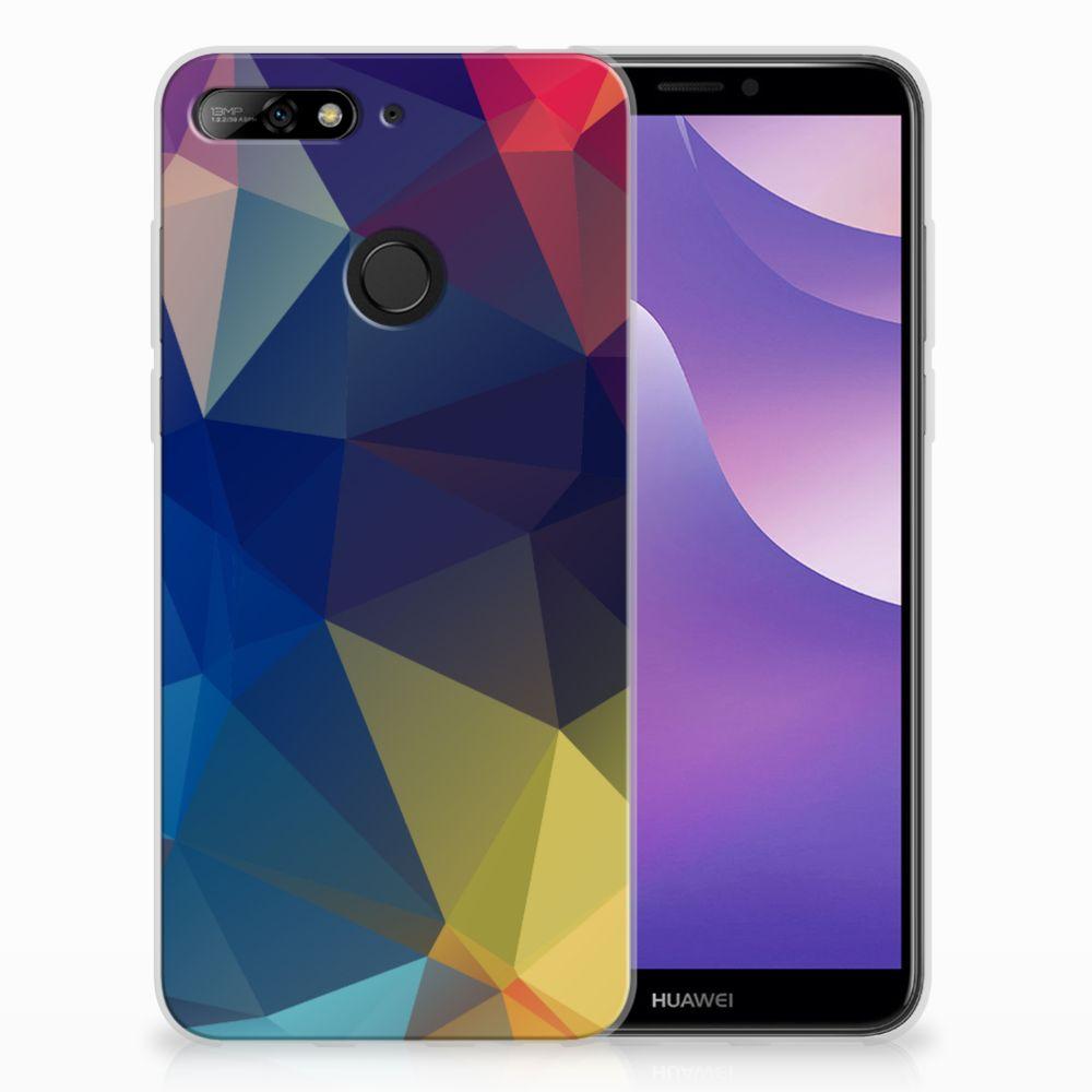 Huawei Y6 (2018) Uniek TPU Hoesje Polygon Dark