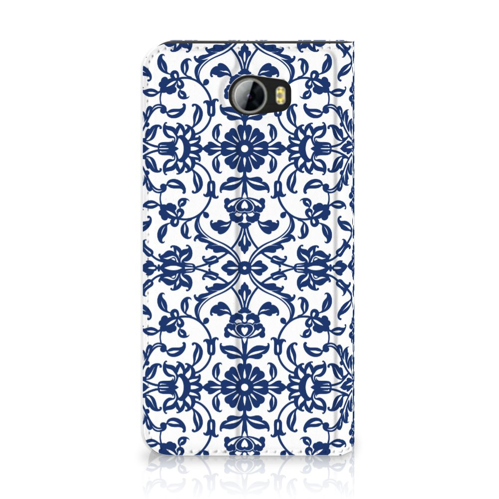 Huawei Y5 2   Y6 Compact Standcase Hoesje Flower Blue