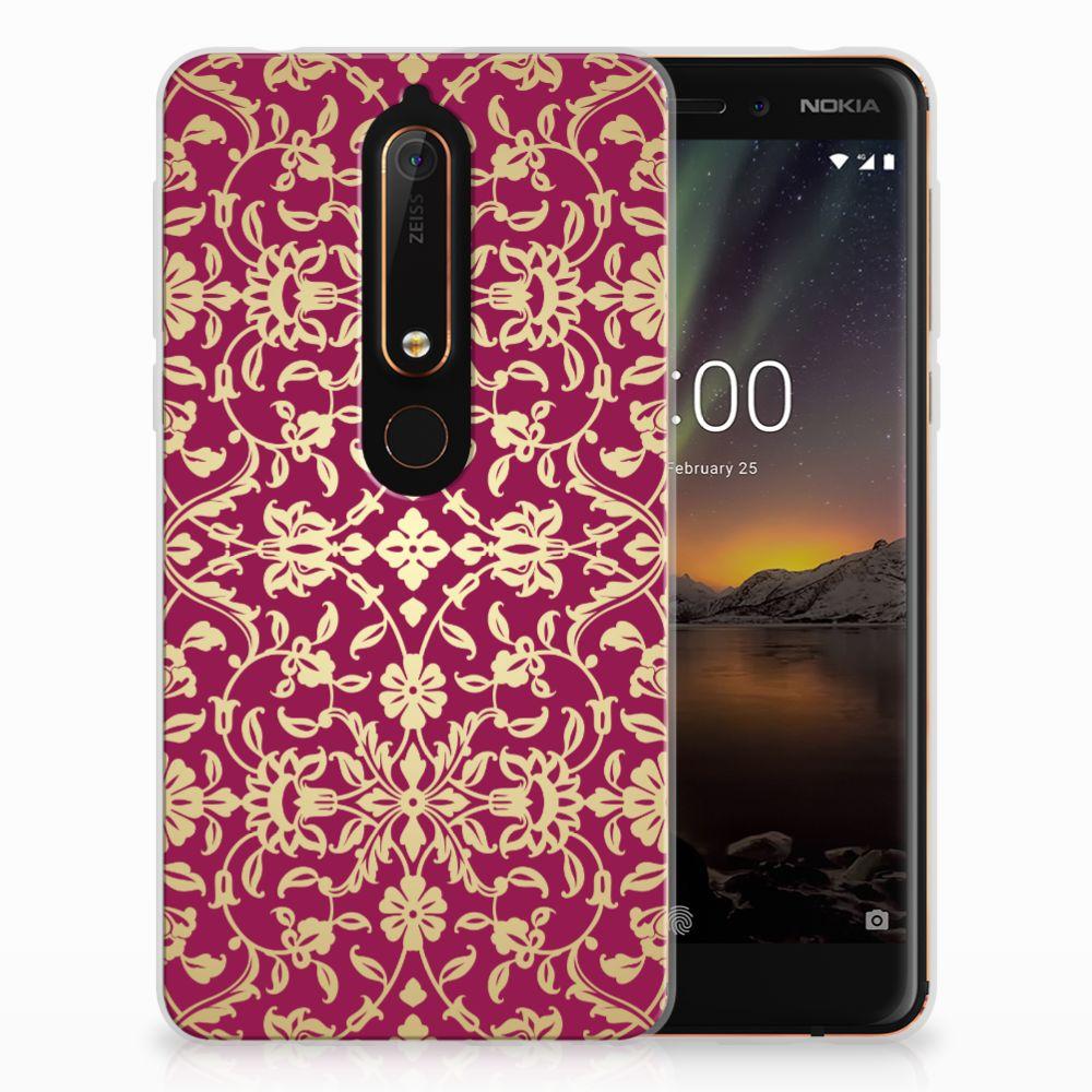 Siliconen Hoesje Nokia 6 (2018) Barok Pink