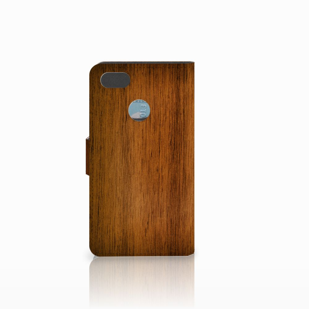 Huawei Y6 Pro 2017 Book Style Case Donker Hout