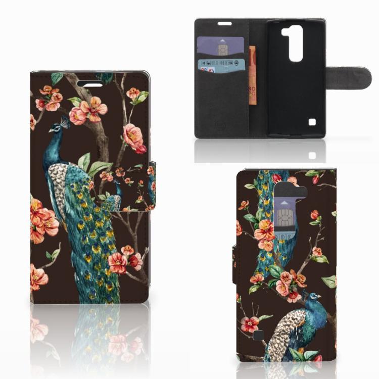 LG Spirit Telefoonhoesje met Pasjes Pauw met Bloemen