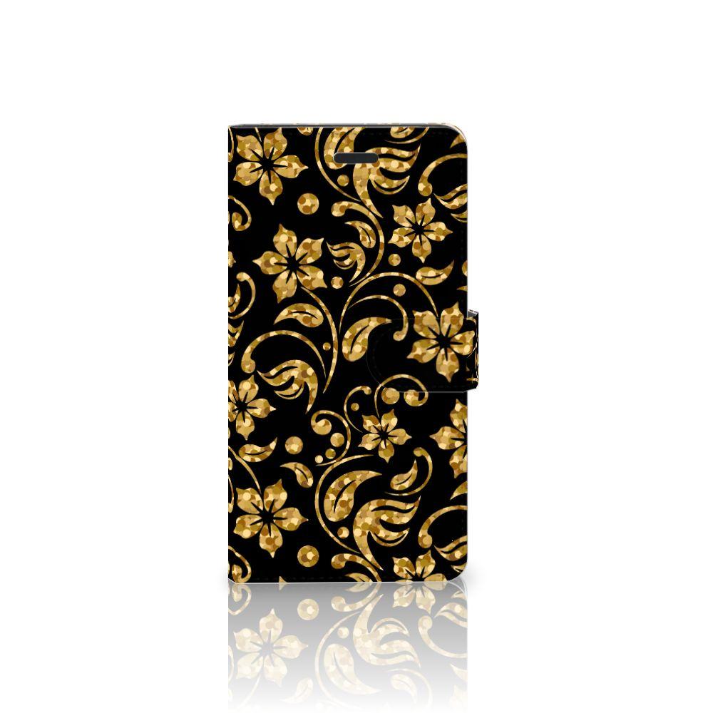 Samsung Galaxy A7 2017 Boekhoesje Design Gouden Bloemen