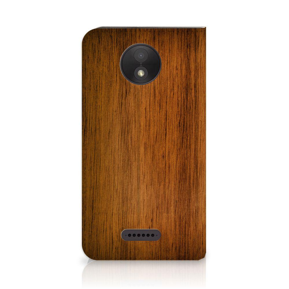 Motorola Moto C Plus Uniek Standcase Hoesje Donker Hout