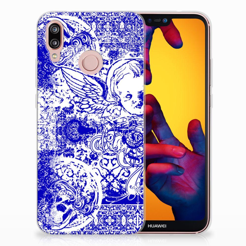 Huawei P20 Lite Uniek TPU Hoesje Angel Skull Blue