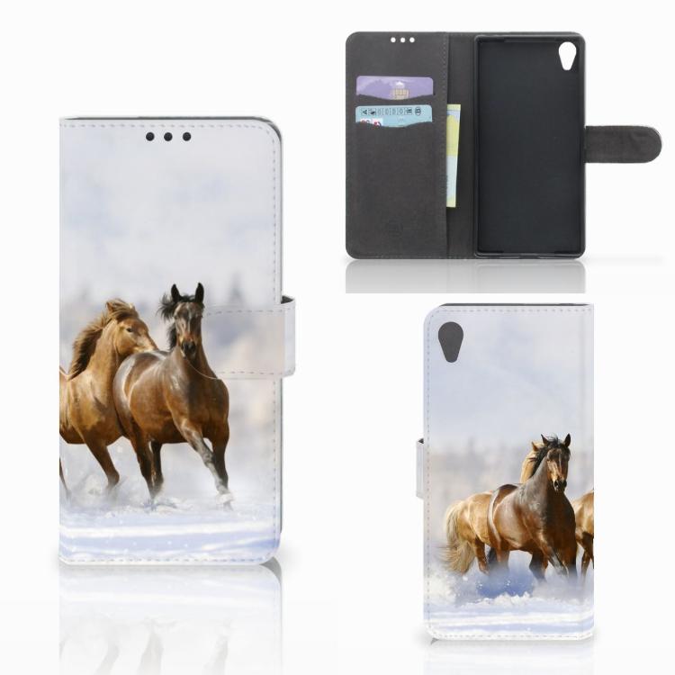 Sony Xperia Z5 Premium Telefoonhoesje met Pasjes Paarden