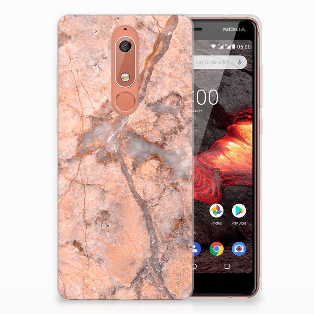 Nokia 5.1 (2018) TPU Siliconen Hoesje Marmer Oranje