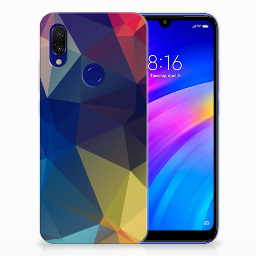 Xiaomi Redmi 7 TPU Hoesje Polygon Dark
